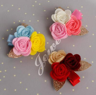10pcs/lot 2017 New Cute Girls Hair Clips Hairpins 3 Roses Flower Non-woven Fabrics Hairpin Baby Kids Hair Accessories 10pcs lot 2017 new cute girls hair clips hairpins 3 roses flower non woven fabrics hairpin baby kids hair accessories