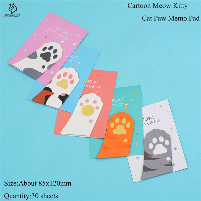 Lovely Cartoon Memo Pad Kawaii Stationery Cat Paw Sticky Note Post Pages Marker Planner Memo Bookmark for Kids School Supplies