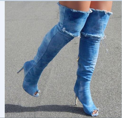 Women boots sexy high heel super high thin heels over the knee peep toe women casual blue denim boots jeans boots designer boots choudory 2017 runway denim blue over the knee boots sexy open toe high heel boots woman thigh high boots thin heels jeans boots