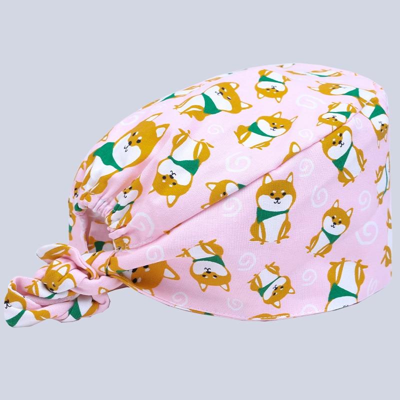 Sinnvoll Krankenhaus Zahnklinik Kinderarzt Nette Baumwolle Medizinische Kappe Chirurgischen Kappe Shiba Rosa Hündchendruck Medizinisches Zubehör