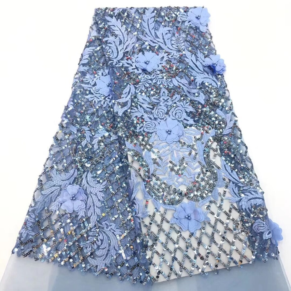 New Arrival African Tulle Lace Fabrics High Quality 2019 Sky blue Lace Fabric With Sequins For