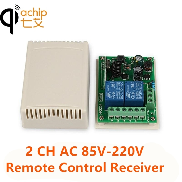 QIACHIP 433MHz 2CH אלחוטי שלט רחוק מתג AC 110V 220V ממסר מקלט עבור עבור שער חשמלי אור מנורת רכב מוסך דלת