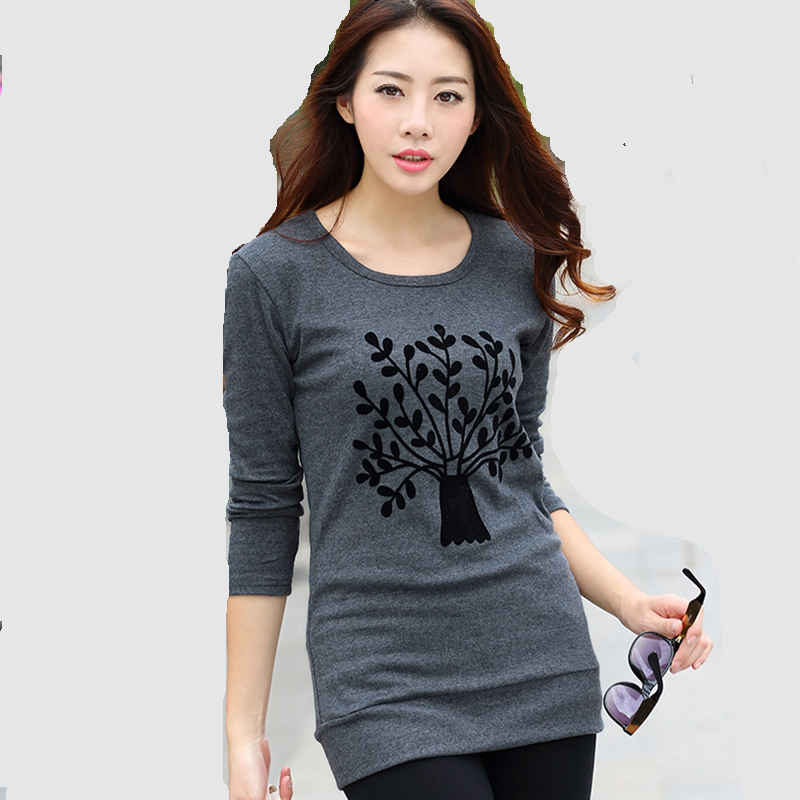 tree pattern crewneck tee shirt ladies full sleeve long t