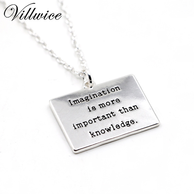Imagination is more important than knowledge inspirational message imagination is more important than knowledge inspirational message engraved pendant necklace for women ladies jewelry gift aloadofball Images