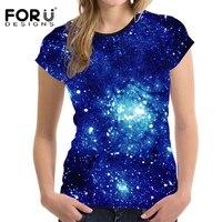 FORUDESIGNS 2018 Brand Women Fit Short Sleeved T shirt Tees 3D Galaxy Female Slim Bodybuilding Tops Universe Star Clothes Shirt