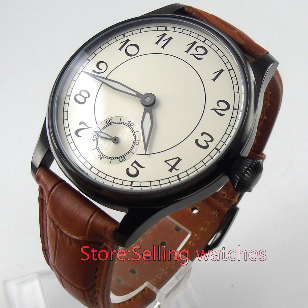 купить classic 44mm parnis white dial PVD 6498 movement hand winding mens watch по цене 5687.31 рублей