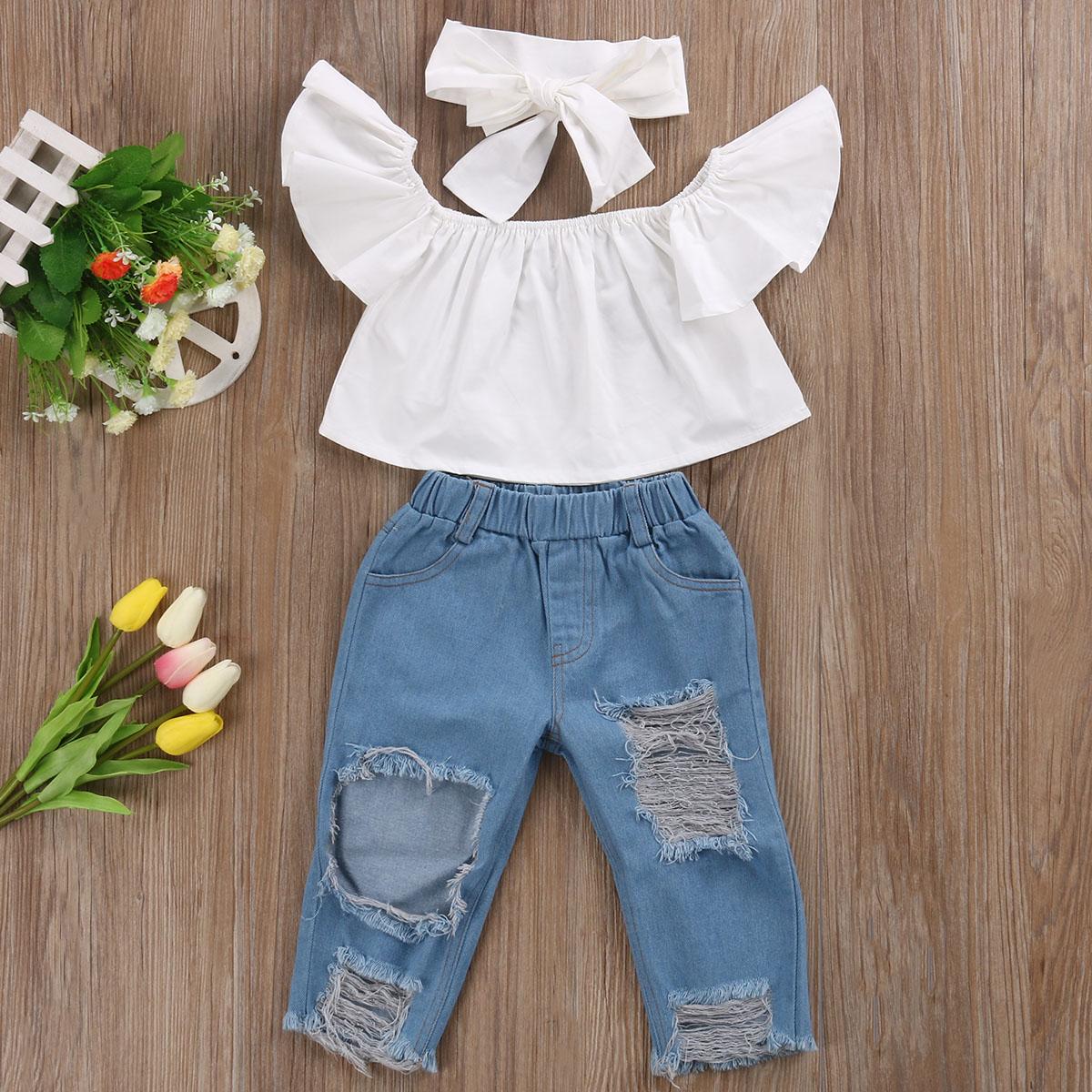 Children Clothes Set 2017 Fashion Off Shoulder White Baby Girls Shirt +Denim Pants + headband 3pcs Suit Children Clothing