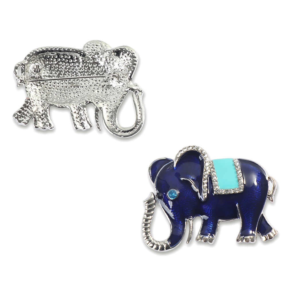 Baru Kedatangan Indah Biru Putih Enamel Pin Gajah Bentuk Bros Kristal Pin Bros untuk Wanita Anak Syal Pakaian Perhiasan