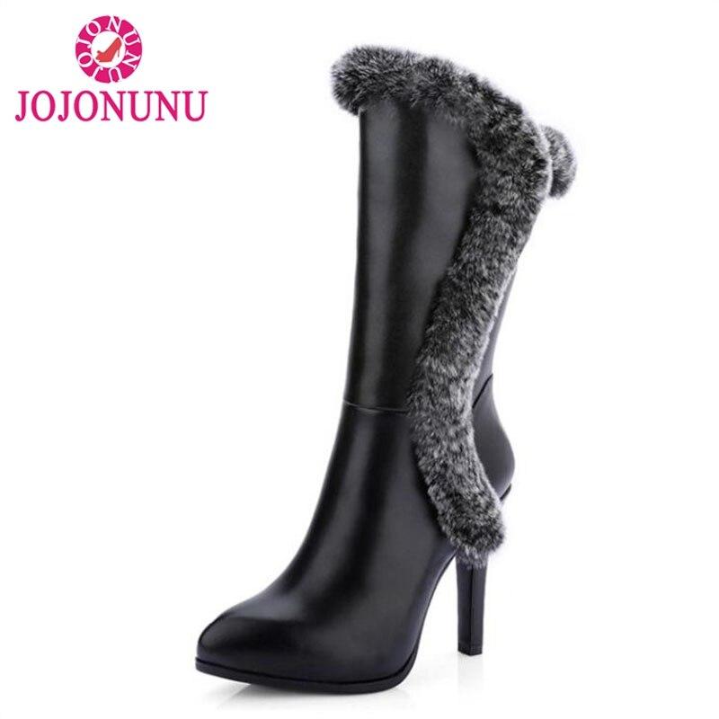 цена на JOJONUNUWomen Real Leather High Heel Mid Calf Boots Women Pointed Toe Zip Shoes Women Winter Snow Botas With Fur Size 34-39