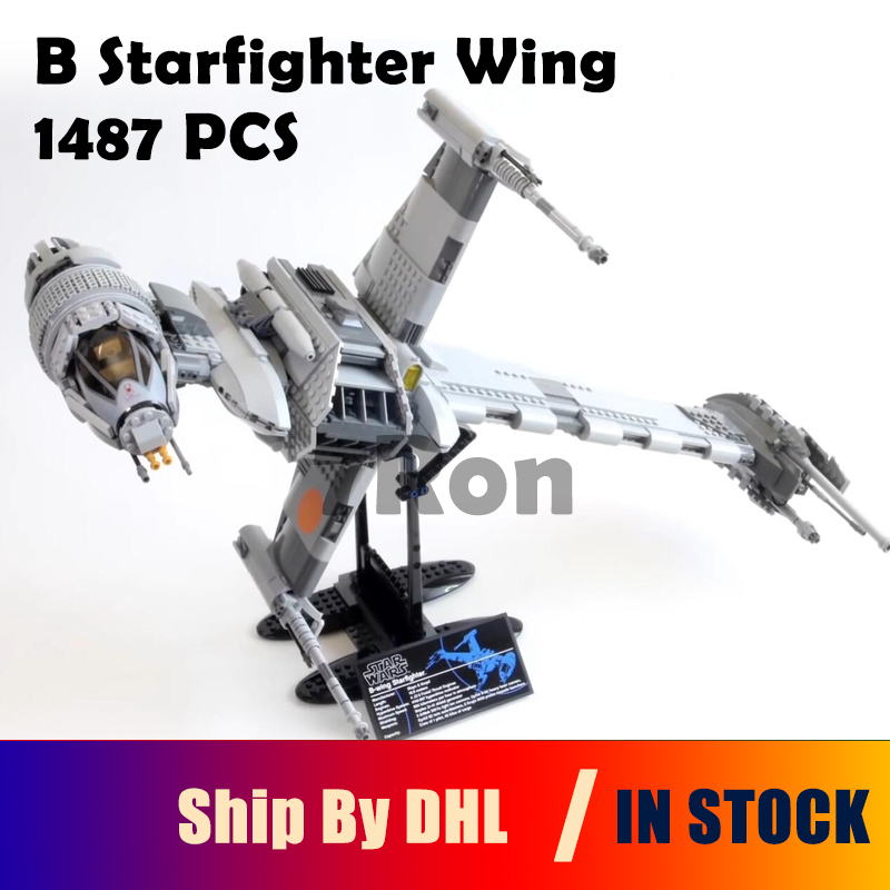 05045 Star 1487pcs War Series Compatible with lego 10227 model B Starfighter wing Educational Building Blocks Brick Toys hobbies lepin 05045 new 1487pcs genuine star war series the b wing starfighter building blocks bricks educational toys