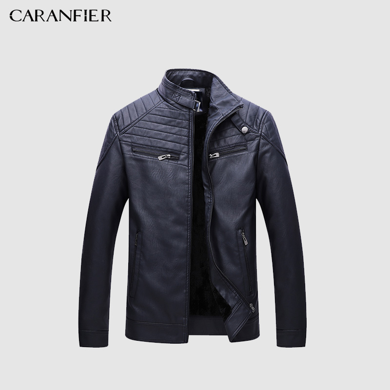 CARANFIER 2018 New Men Leather Jacket Casual Fashion Motorcycle Outerwear Winter Male Leather Jacket Jaqueta De Couro Masculino