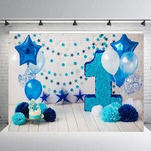 Фон для фотосъемки с изображением торта мальчик реквизит первый день рождения украшение Баннер фотография Фон Фотостудия воздушный шар B132