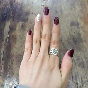 Image 4 - Bastiee peônia flor 999 prata esterlina casal anéis de noivado feminino anel de casamento do vintage jóias de luxo étnica moda