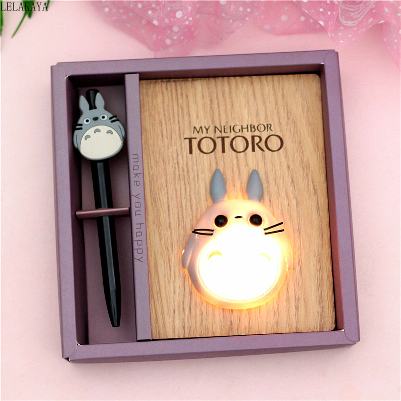 New Creative Cartoon Anime Action Figure Miyazaki Hayao Totoro LED Light Wooden Notepad Notebook Diary Hand Book Birthday Gift