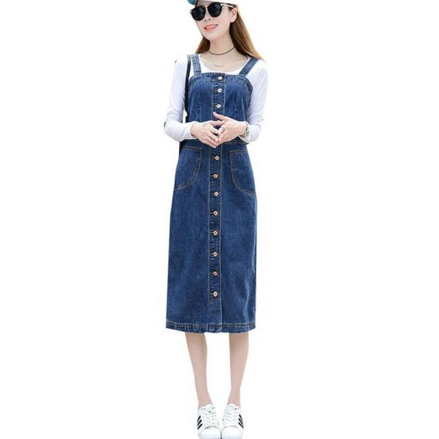 68642ebdf41 Korean Women Denim Sundress 2018 spring Autumn Summer Long Sunspender Dress  Single Breasted Casual Vestido Jeans Dress S213