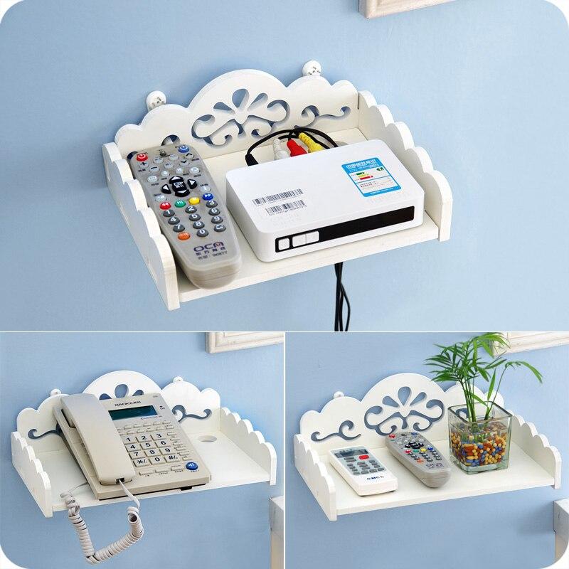 DIY Carved Woden HDF STB Remote Control Holder TV Set-top Decorative Wall Shelf Mobile Phone Storage Rack Organizer Home Deocr