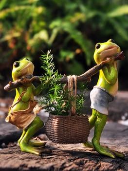 מודרני שרף צפרדע סיר קישוטי מלאכות חיצוני גן צמח סיר צלמיות קישוט חצר וילה ריהוט אביזרי אמנות