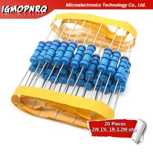 20pcs 2W Metal film resistor resistance 1% 1R 2.2M 4.7R 10R 22R 47R 100R 220R 560R 1K 10K 100K 2.2 10 22 47 100 220 470 1M ohm(China)