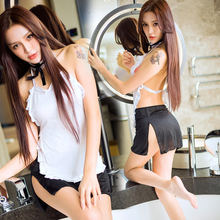 Erotische verleiding maid cosplay Erotic french maid uniform Short skirt porno japanese lingerie hot babydoll sex play costume(China)