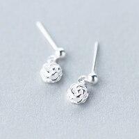 925 ayar gümüş küpe kadın Kore tatlı kadınlar için küpe moda sevimli çiçek kısa küpe gül