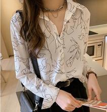 M new womens spring retro temperament printed chiffon shirt female design sense minority bottoming