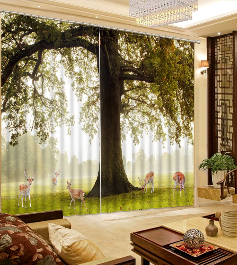 New Custom 3D Beautiful Luxury European Modern Fashion Tree 3d Curtain  Country Bedroom Curtains(China