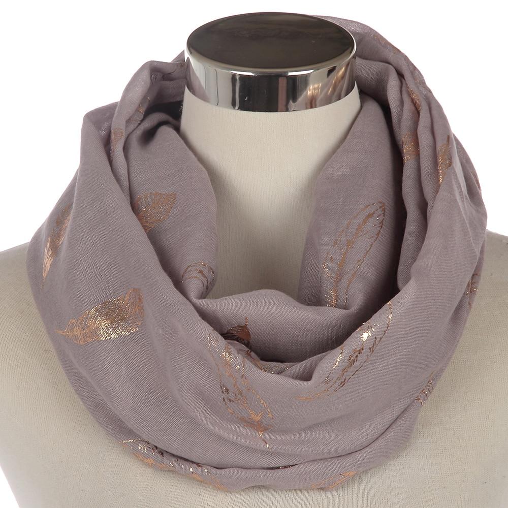 Winfox Fashion Mint Green Pink Grey Shiny Foil Gold Feather Snood Ring Scarves Womens Echarpe Foulard