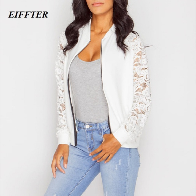 EIFFTER Women Jacket 2016 New Arrival Female Solid Lace Stitching Baseball Jacket Stand Collar Bomber Jacket Coat Outwear 0088
