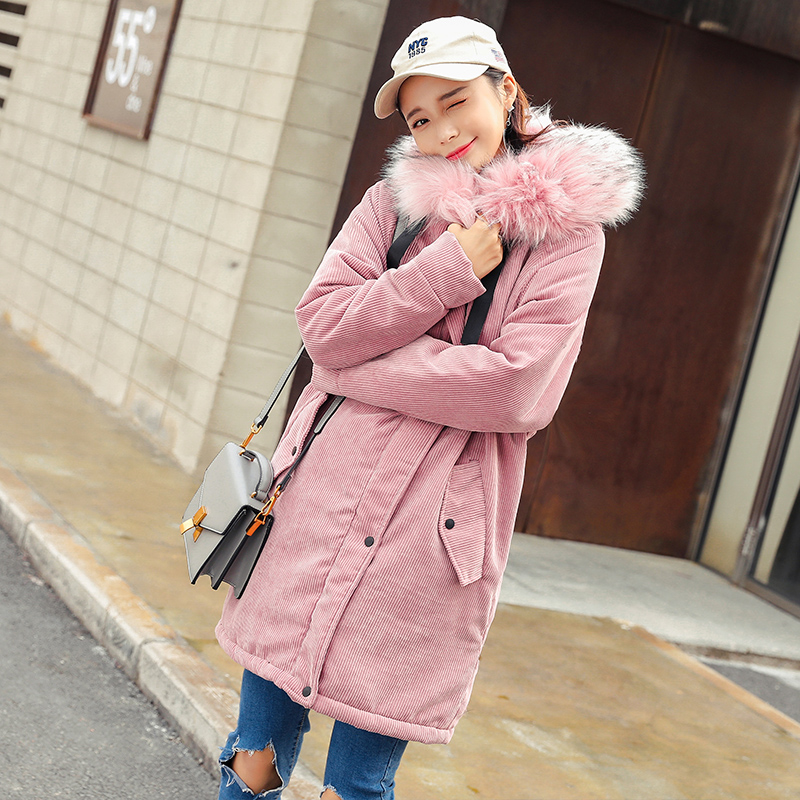 New Winter Coat Womens Warm Parka Corduroy Female Wadded Jacket Plus Size Thick Hooded Parka Casual Outerwear Coats Snow Wear стоимость