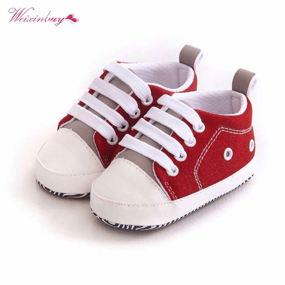 WEIXINBUY Lovely Baby Sneakers Newborn Baby Crib Shoes Girls Toddler Laces Soft Sole Shoes