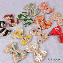 5 шт./лот 8 см джут, джутовая ткань, мешочная ткань Ёлочные банты разноцветный галстук бабочка для Винтаж в деревенском стиле для свадьбы или «нулевого дня рождения» для упаковки подарков