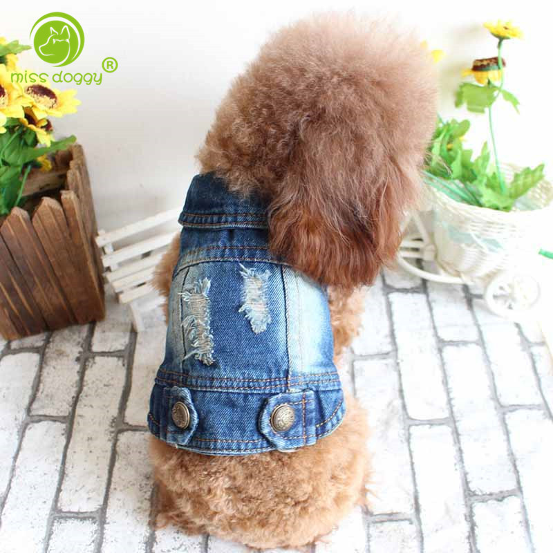 2017 Terbaru Lubang Anjing Jaket Pet Pakaian Denim Pribadi Mantel Rompi untuk Anjing Kecil Menengah Besar Chihuahua XS-XXL Semua Musim
