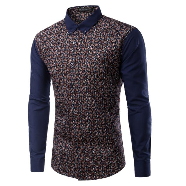 2017 Fashion Brand New Men Slim Turn-Down Collar Print Design Business Casual Long-Sleeved Shirt Chemise Camisa Masculina TU221