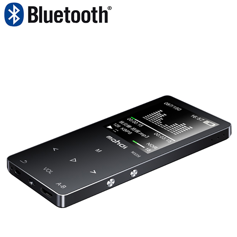 New Metal Bluetooth Sport MP4 Player Portable Audio with Built in Speaker FM Radio APE Flac Music video Player