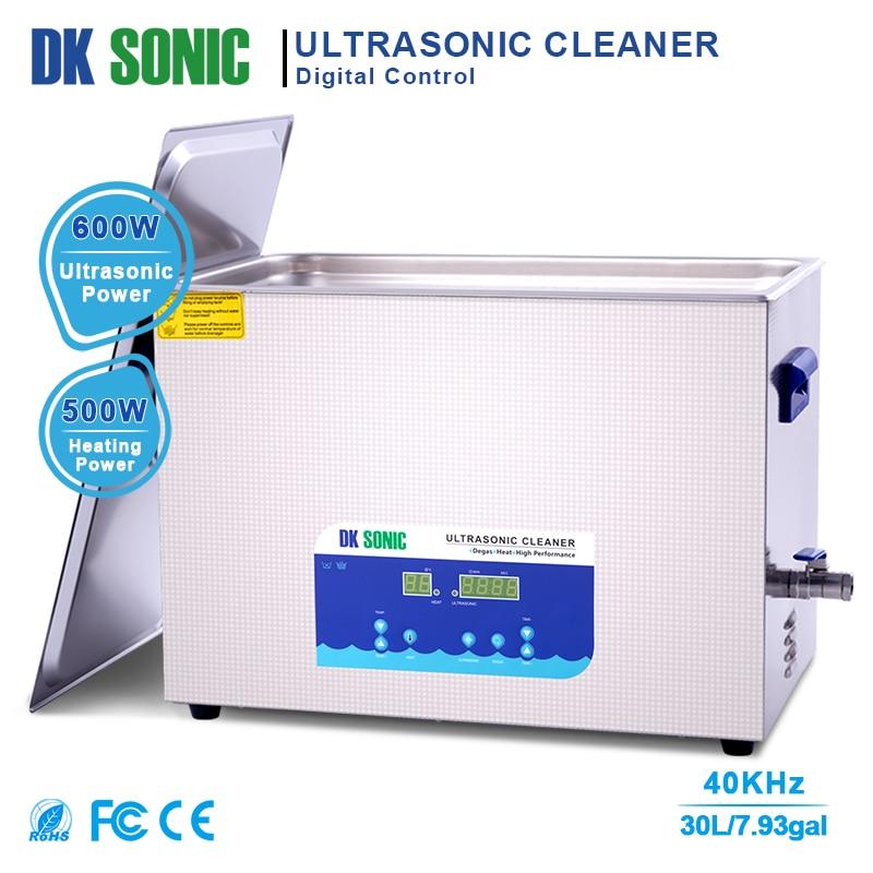 Dk sonic lab digital ultra sonic cleaner aquecido 30l 40 khz 500 w ultrassom banho para acessórios de ferragem industrial clubes golfe aut