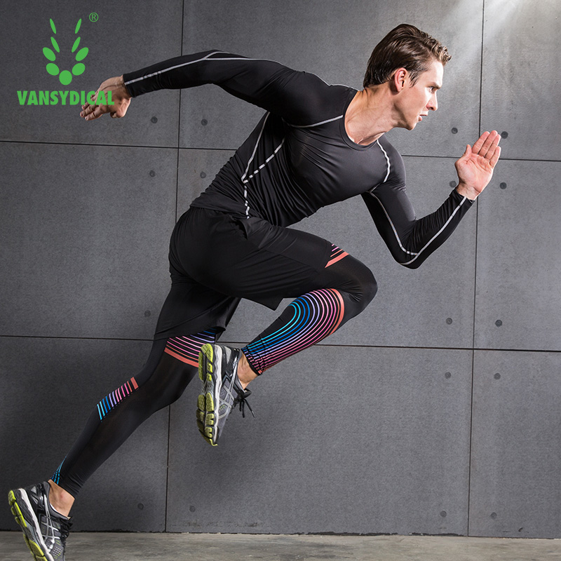 887a4fab01f Vansydical Men Sports suits fitness tights gym training clothes ...