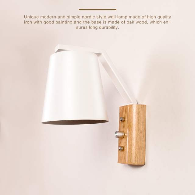 Us 22 08 45 Off Modern Simple Nordic Style Wall Lamp Painted Iron Lampshade And Wooden Base E27 Socket Wall Sconce With Power Switch Ac 220v In Led