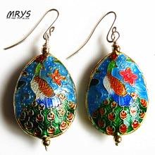 New font b Blue b font Green Peacock Ethnic Cloisonne Enamel Fashion Ear Jewelry Dangle Drop