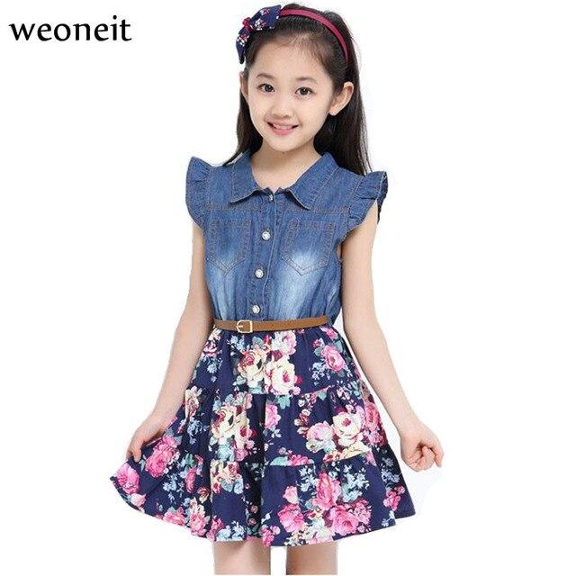 08ec9c6b7d Weoneit vestido de verano las niñas 2019 nueva moda vestidos para chicas  grandes Causal de alta