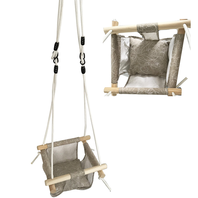 Baby Hammock Swing Canvas Hanging Chair with Cushion Todder Outdoor Indoor Wooden Swing