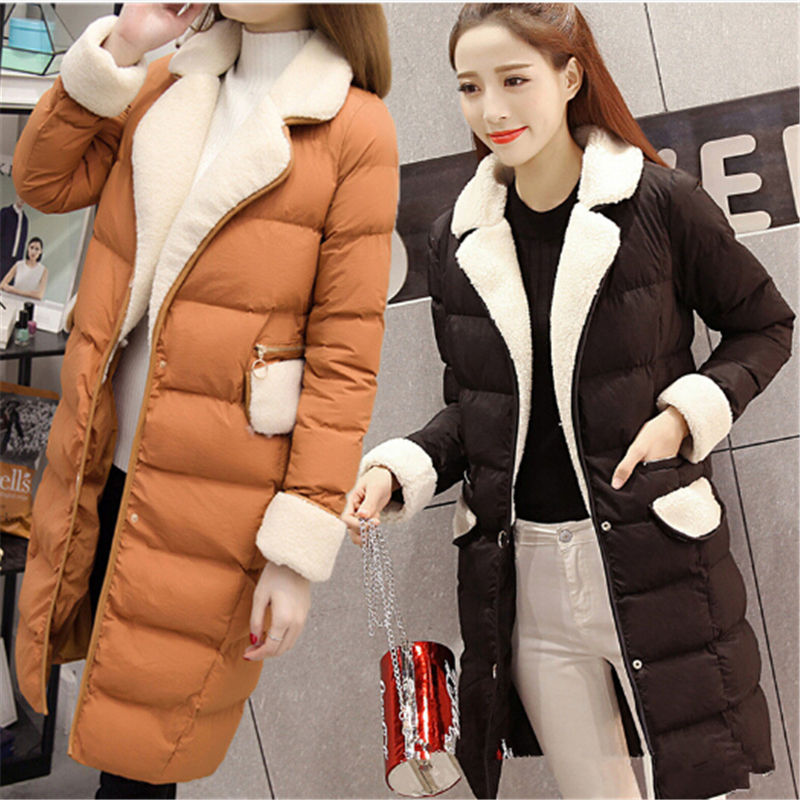 Women Jacket Cotton Coats Slim Thick Long Lapels Womans Overcoat 2017 New Arrival Korean Style Ladies Jackets Parkas