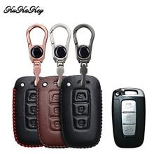 KUKAKEY 3 Button Leather Car Key Case Cover For Hyundai I30 IX45 IX35 Sonata Tucson Santafe Verna Auto Parts