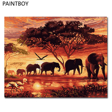 PAINTBOY Elephants DIY Painting By Numbers Painting & Calligraphy Oil Painting On Canvas Home Decor For Living Room 40*50cm