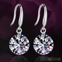 Bluelans Women Silver Plated Fashion Drop Hook Round Dangle CZ Cubic Zirconia Earrings