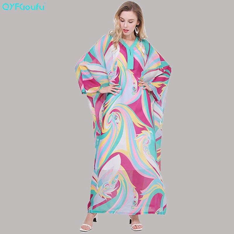 QYFCIOUFU 2019 été Boho Maxi robes pour femmes à manches longues lâche mode piste robe imprimé Floral élégant vacances robe