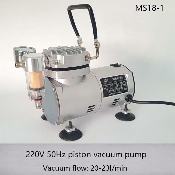 MS18-1 50HZ 220V AC 20-23L/MIN 1/6HP Small Electric Piston Vacuum Pump Airbrhsh Compressor