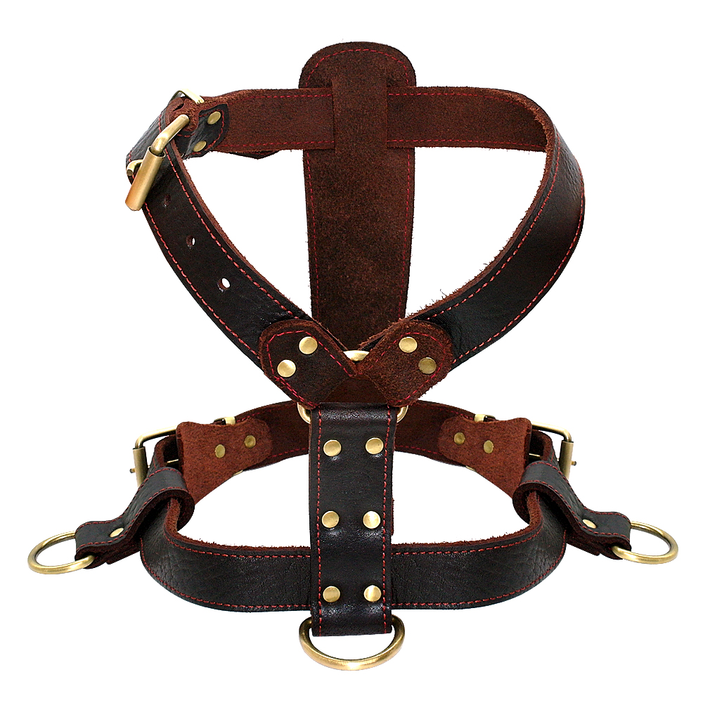 Genuine Leather Brown Dog Harness for Big Dogs Dog Harness