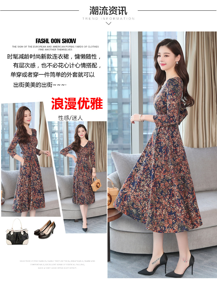 Autumn Winter New 3XL Plus Size Vintage Midi Dresses 2018 Women Elegant Bodycon Floral Dress Party Long Sleeve Runway Vestidos 13
