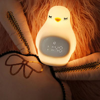 Penguin Outlook LED Night Light Animal Alarm Clock Silicone Table Lamp Cute Bsedside Lamp USB Power for Children Baby Bedroom