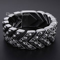 Davieslee 21.6cm Long Carved Skulls Arrow Link  Mens Bracelet Wristband 316L Stainless Steel Bracelet HB375